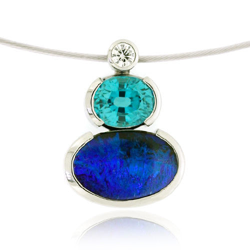 18ct White Gold Opal, Zircon & Diamond Pendant