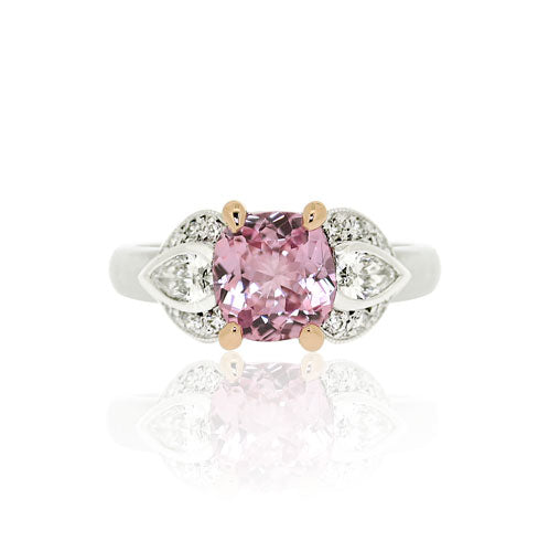 Pink Sapphire, Pear Diamond Gold Ring