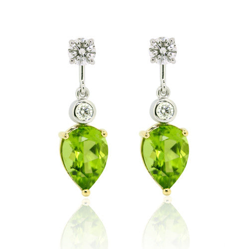 18ct Gold Peridot & Diamond Earrings