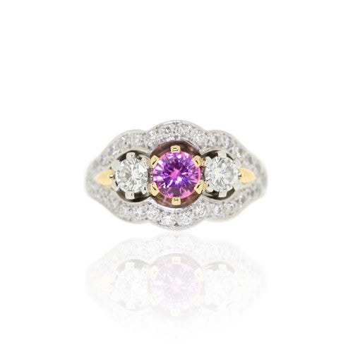 Pink Sapphire & Brilliant Diamond Gold Ring