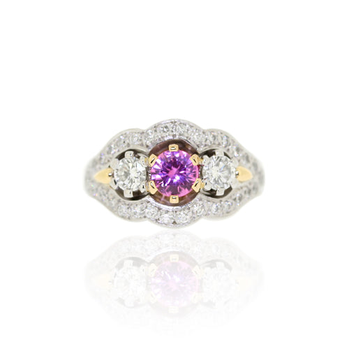 18ct Gold Pink Sapphire & Diamond Trilogy Cluster Ring