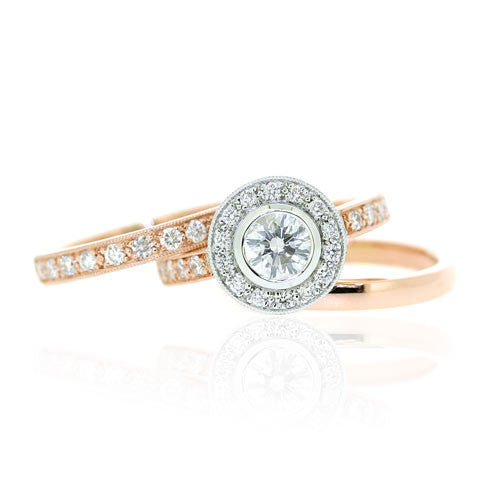 18ct Rose Gold Diamond Engagement, Wedding & Eternity Ring Set
