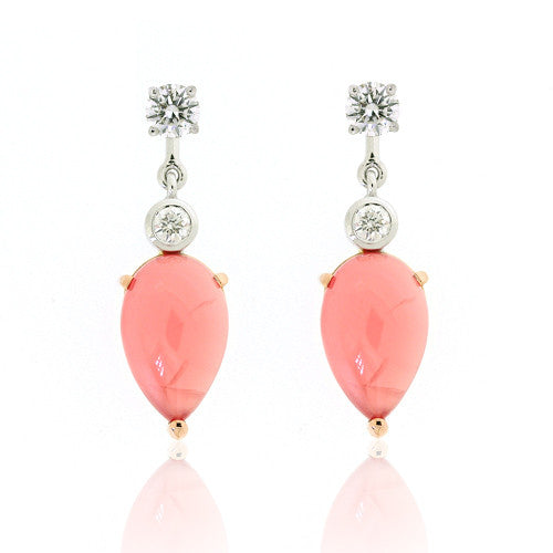 18ct Gold Rhodochrosite & Diamond Earrings