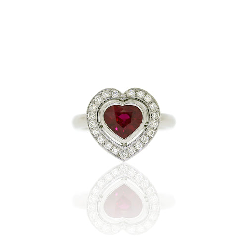 18ct White Gold Ruby Heart & Diamond Ring