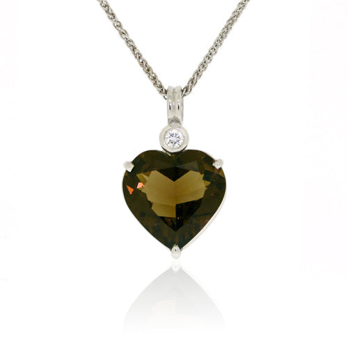 White Gold Smokey Quartz Heart & Diamond Pendant