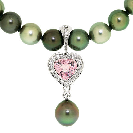 Tourmaline, Diamond and Tahitian South Sea Pearl white gold pendant