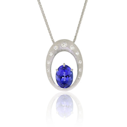Tanzanite & Diamond 18ct White Gold Pendant