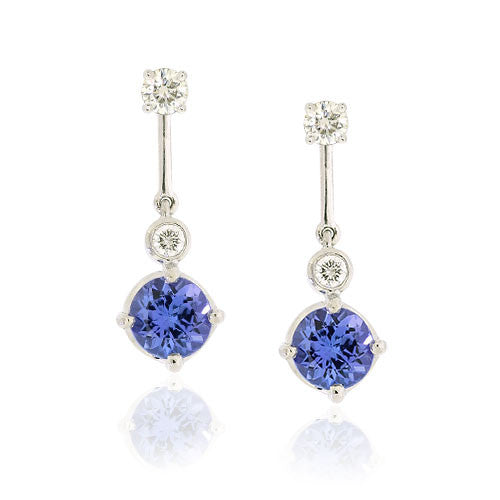 18ct Gold Tanzanite & Diamond Earrings