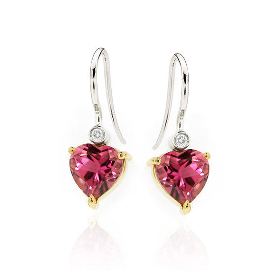 18ct Gold Tourmaline & Diamond earrings