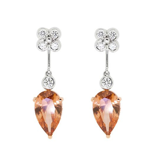 18ct Gold Zircon & Diamond Earrings
