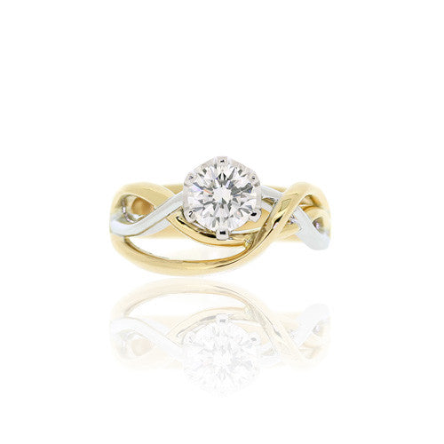 18ct Gold Brilliant Diamond Ring with Entwined Band