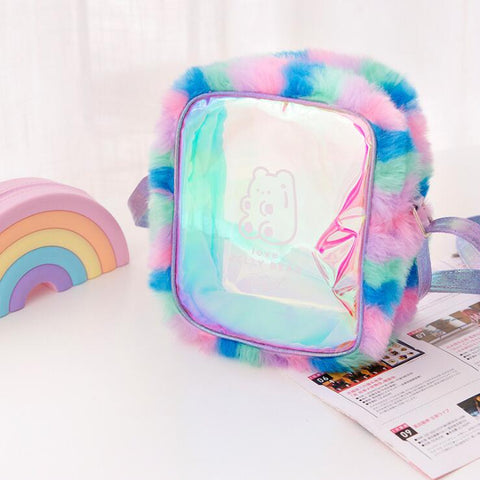 BEAR RAINBOW HOLOGRAPHIC TRANSPARENT BAG
