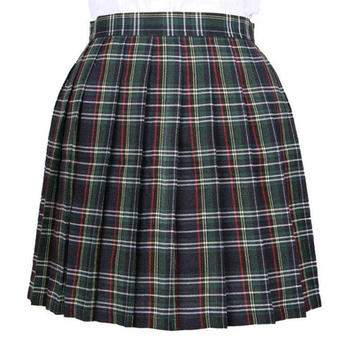 DARK GREEN GRID TENNIS SKIRT