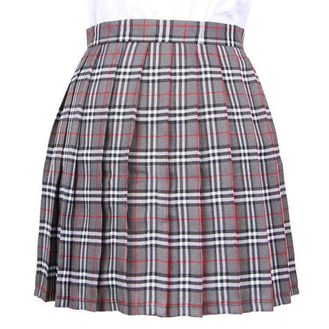 GRAY GRID TENNIS SKIRT