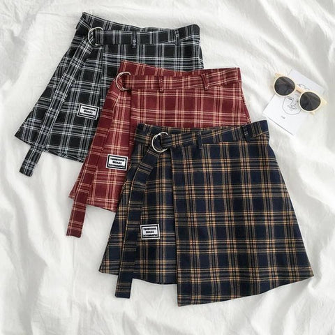 PLAID IRREGULAR A-LINE SKIRT