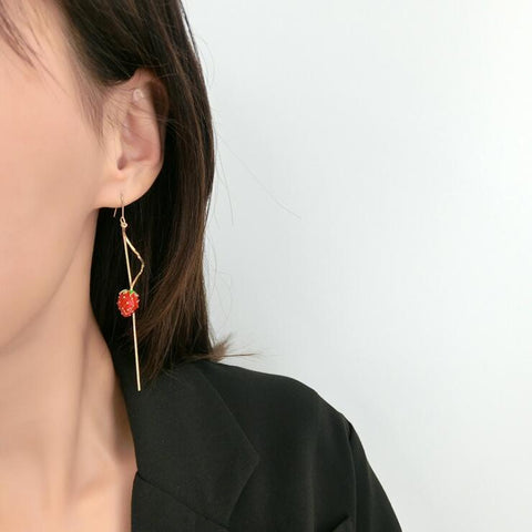 STRAWBERRY SPIRAL TASSEL EARRINGS
