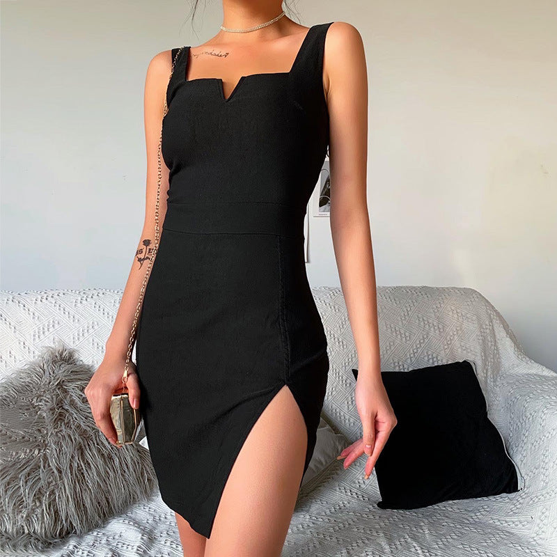 BLACK SLING SPLIT DRESS