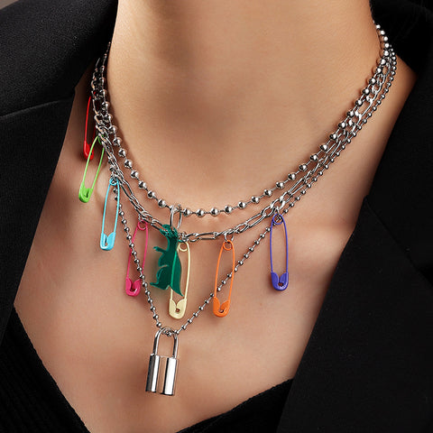 COLOR PIN LOCK ROUND BEAD CHAIN NECKLACE