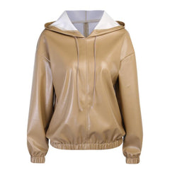 FAUX LEATHER HOODIE