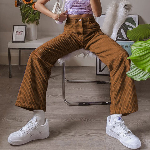 CORDUROY STRAIGHT CASUAL PANTS