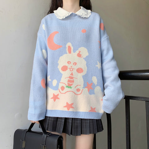 STARRY SKY RABBIT PULLOVER SWEATER