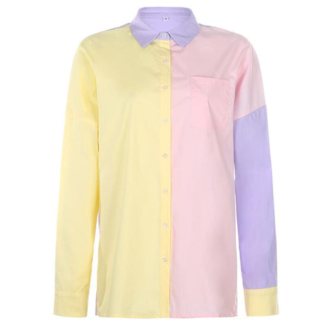 STITCHING CONTRAST COLOR FASHION STREET SHIRT