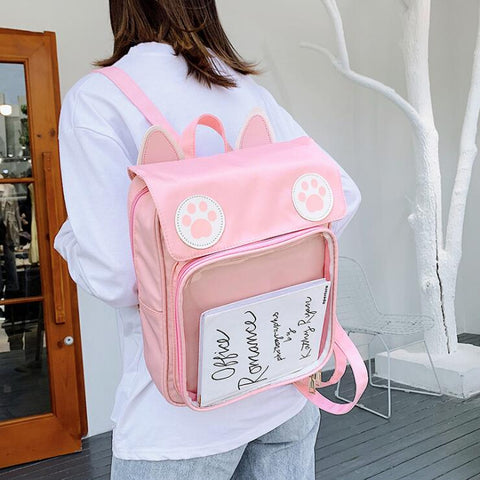 KAWAII CAT EARS TRANSPARENT BACKPACK