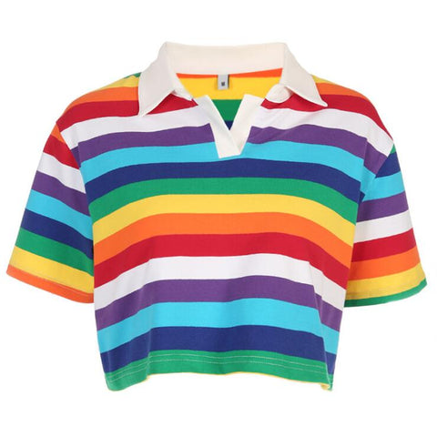 RAINBOW STRIPE LAPEL CROP T-SHIRT