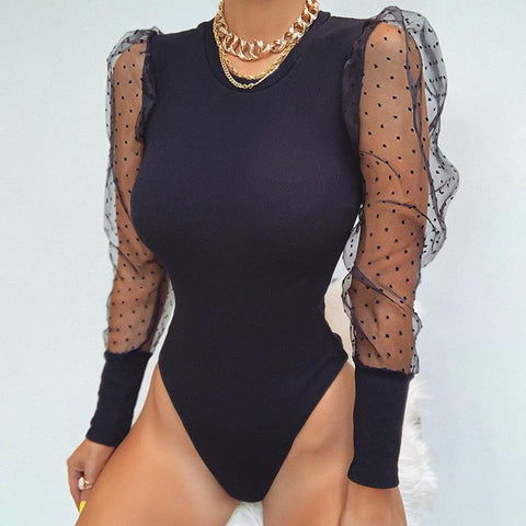POLKA DOT MESH PUFF SLEEVE BODYSUIT