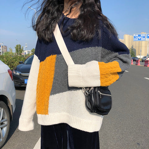 PATCHWORK KNIT PULLOVER SWEATER