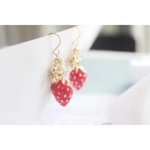 STRAWBERRY FLOWER EARRINGS