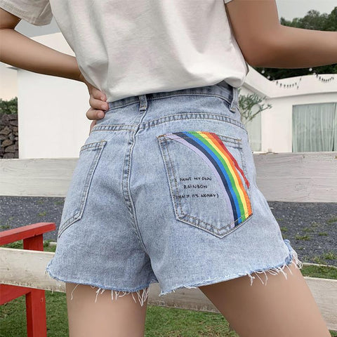 RAINBOW PRINT DENIM SHORTS