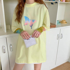 RAINBOW BUTTERFLY PRINT TEE & TIE-DYE SUNSCREEN