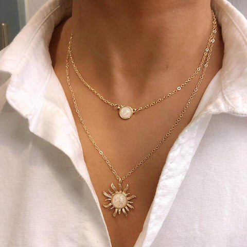 SUN FLOWER OPAL MULTI LAYER NECKLACE