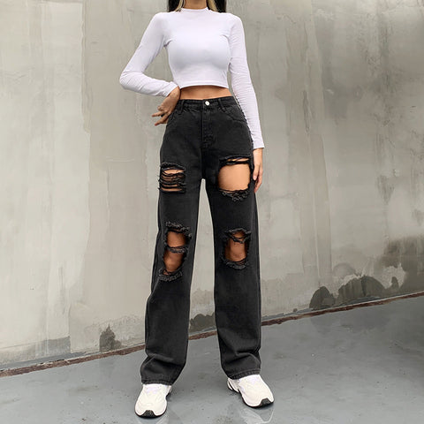 RIPPED STRIPS CASUAL STRAIGHT JEANS