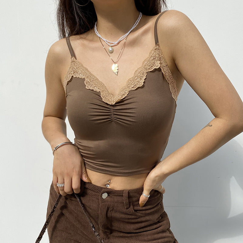 LACE V-NECK STITCHING FRILL CAMISOLE