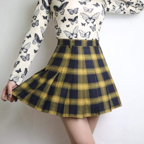 YELLOW PLAID PLEATED SKIRT