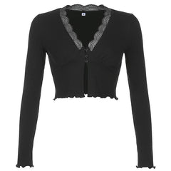 FRILL V-NECK CARDIGAN TOP