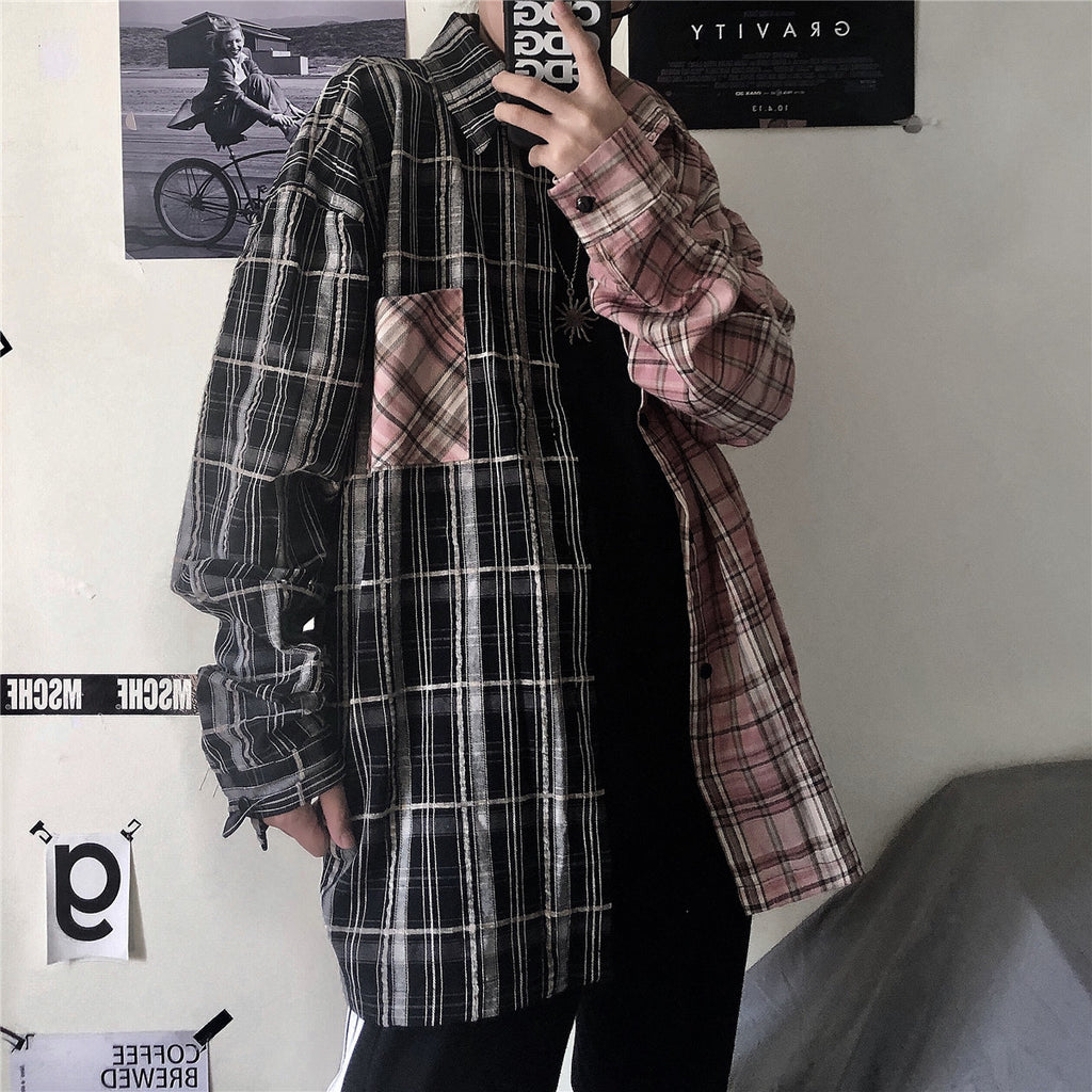 CONTRAST PLAID LONG SLEEVE CARGO SHIRT