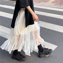 MESH MID-LENGTH SKIRT