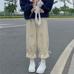PUPPY EMBROIDERED DRAWSTRING CORDUROY WIDE LEG PANTS
