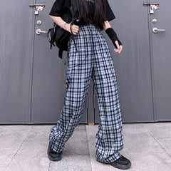 RETRO PLAID CASUAL WIDE LEG PANTS