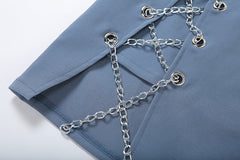 CHAINED FITTED MINI SKIRT