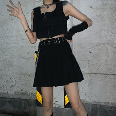 HARAJUKU PLEATED SKIRT WITH BELT CHAIN