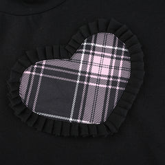 PLAID HEART WOODEN EARS T-SHIRT WITH SLEEVES