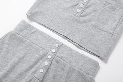 GRAY BUTTON CROP TOP AND SHORTS SET
