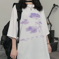 CARTOON BEAR CLOUD PRINT TEE