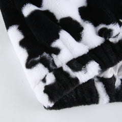 COW FAUX FUR ZIPPER HOODED JACKET