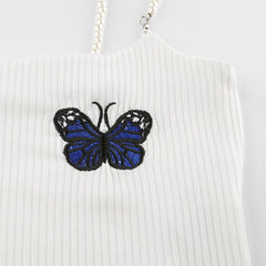 VINTAGE BUTTERFLY EMBROIDERED CROPPED CAMISOLE