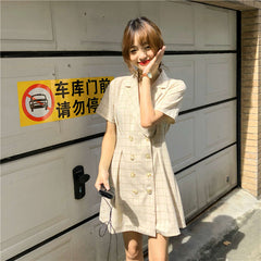 PLAID SUIT COLLAR DOUBLE-BREASTED DRESS